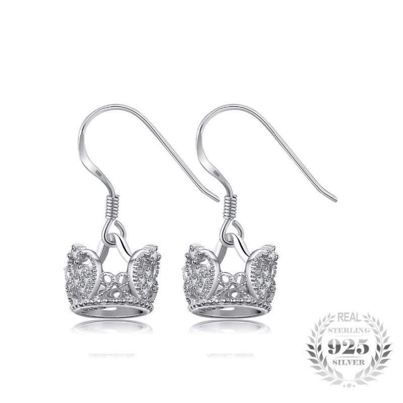 925 Sterling Silver Shiny Swan Design Genuine White Topaz Gemstone Stud Earrings