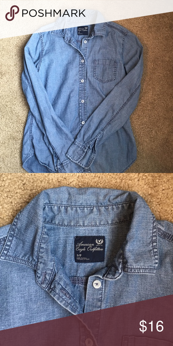 AE blue jean button down Great staple for casual wear. Great condition. American Eagle Outfitters Tops Button Down Shirts