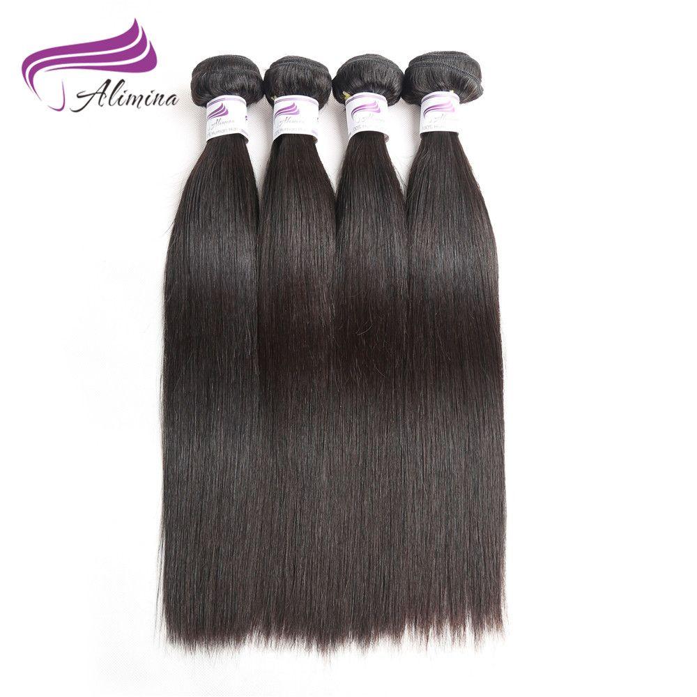 Alimina Bundles Human Hair Indian Straight Hair Extensions 34pcs