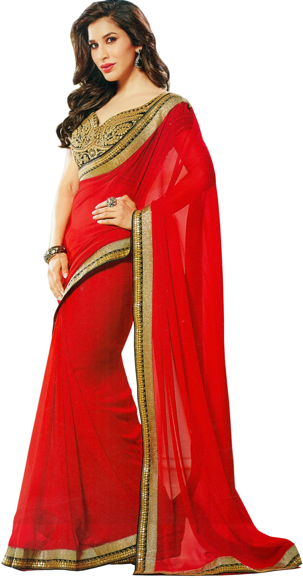 97c0c2a94c12e Tomato-Red Wedding Sari with Golden Patch Border and Sequins
