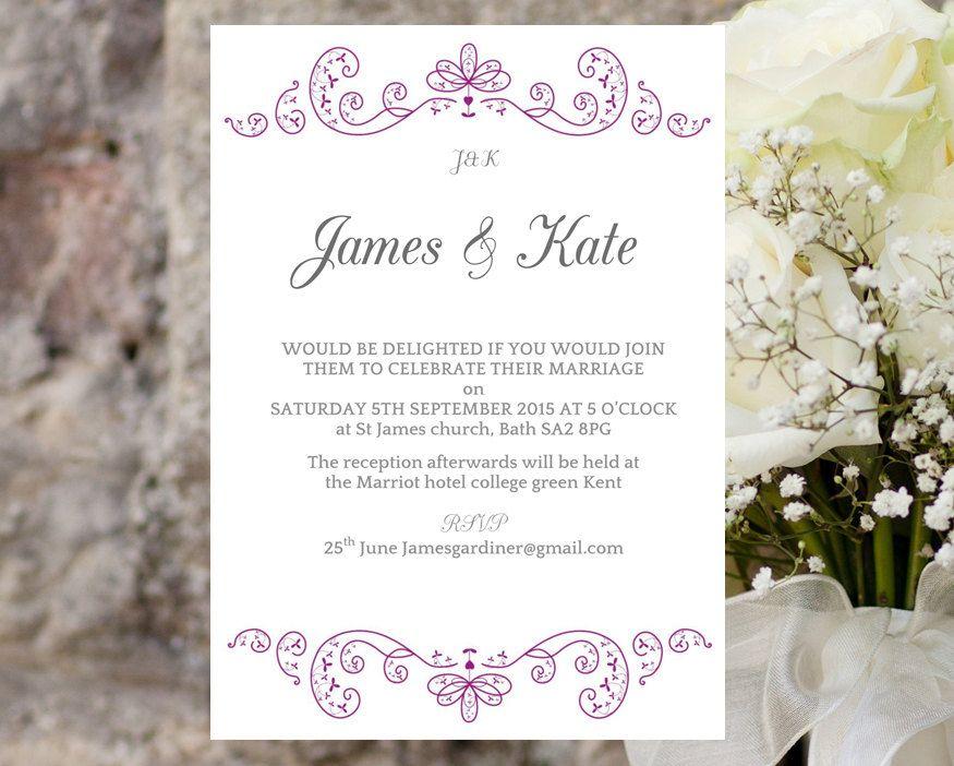 Invite Templates For Word Wedding Invite Template  Elegant Swirls Purple  Download Printable .