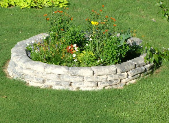 Great Raised Flowerbed Made From 80 Pound Concrete Bags Any Shape You Desire Lay Wet Weather Peel Pap Concrete Bags Gas Fire Pits Outdoor Fire Pit Materials