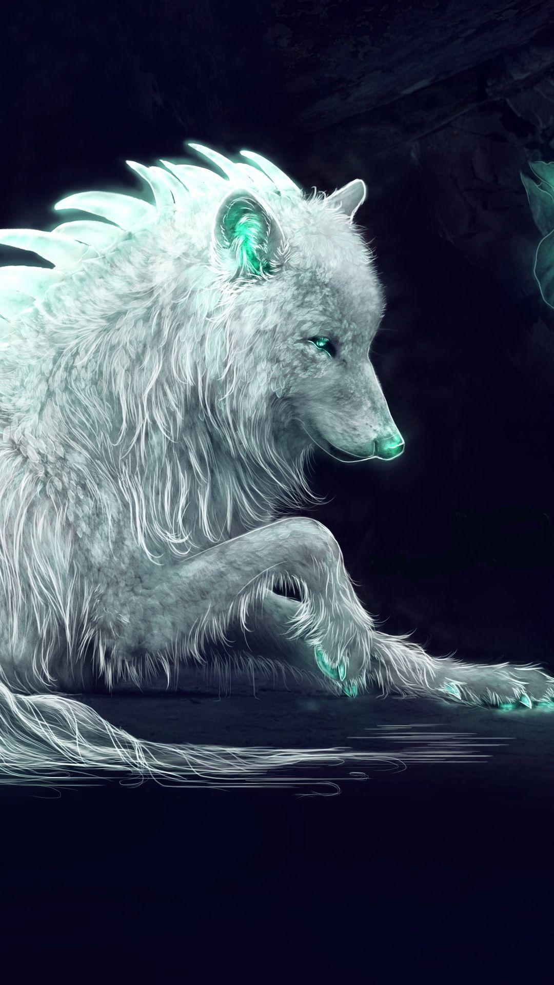 White Wolf Fan Art In 1080x1920 Resolution Fantasy Wolf Wolf With Blue Eyes Wolf Wallpaper