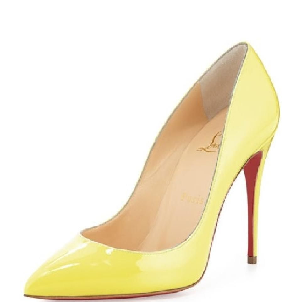 e6f85394780b Christian Louboutin PIGALLE FOLLIES 100 Patent Heels Pumps Shoes Yellow   695  ChristianLouboutin  PumpsClassics