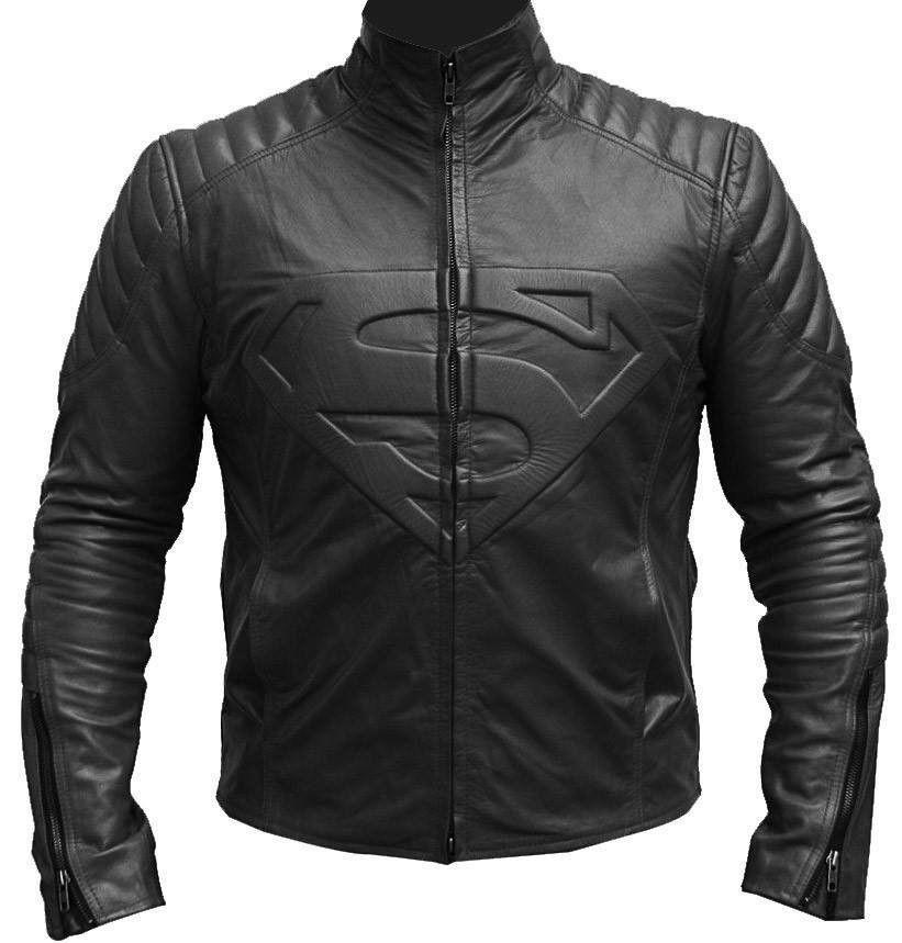 Herren Lederjacke Superman BLACK