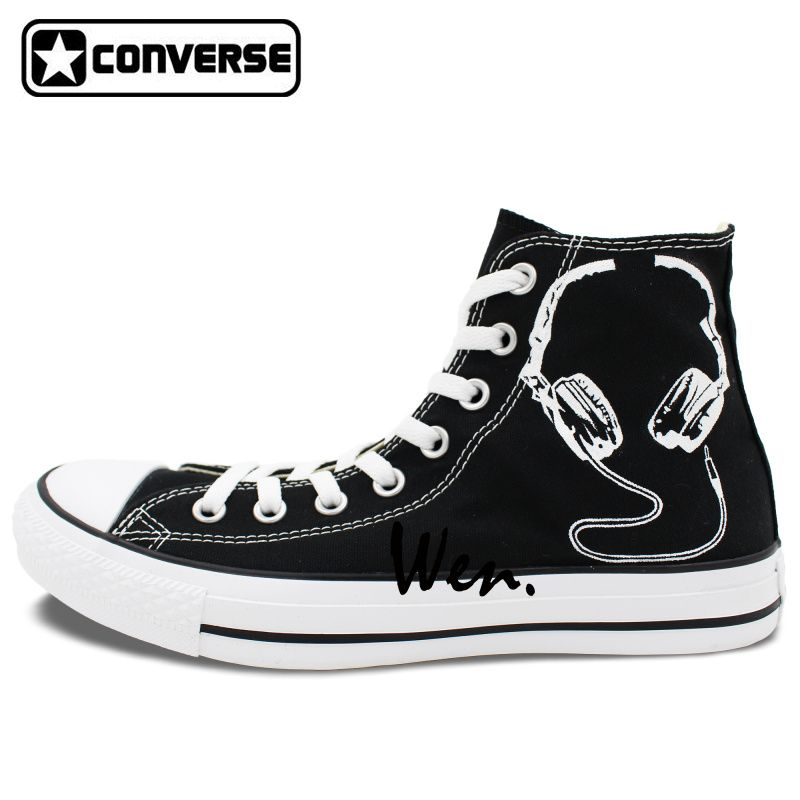 9c948bf2375218 Black Converse All Star Custom Shoes Earphone Microphone Original Design  Hand Painted Sneakers Men Women Canvas
