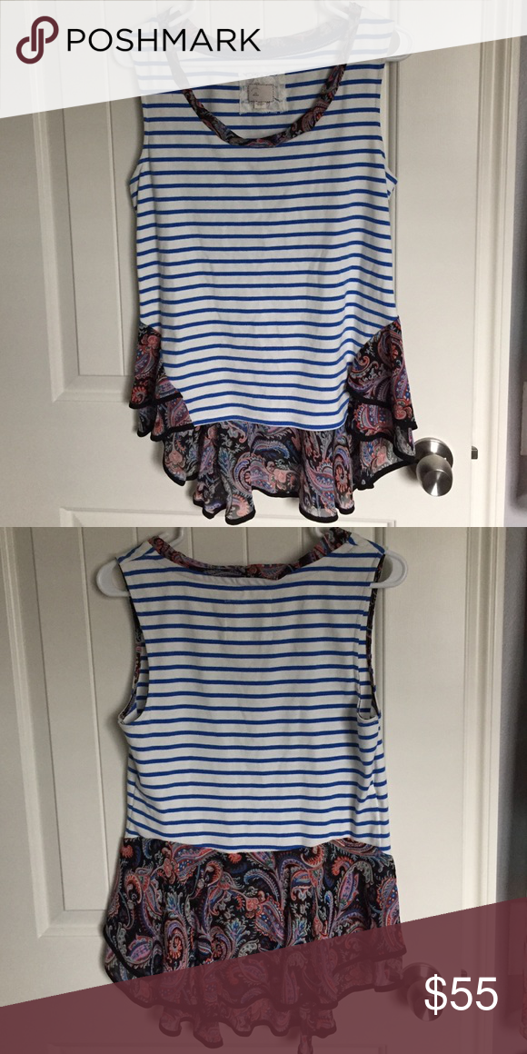 Anthropologie Paisley and Stripe Tank Top NWOT. Super cute Anthro top. Anthropologie Tops Tank Tops