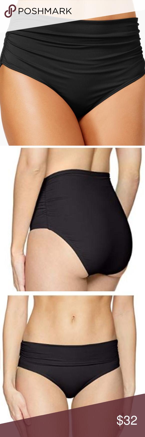 5da8da8c3355f ANNE COLE High Waist 3-Way Ruched Bikini Bottom NEW WITH TAGS Size Large.