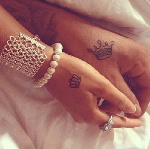 13b5823e8aba4 His & Her Crown Hand Tattoo   His and Her Tattoos   Hand tattoos ...