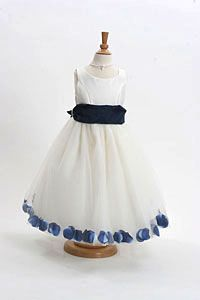 Flower Girl Dress Style 152-Choice of White or Ivory Dress with Navy Sash and Petals