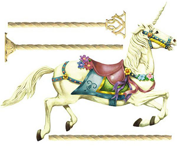 Unicorn carousel wall mural