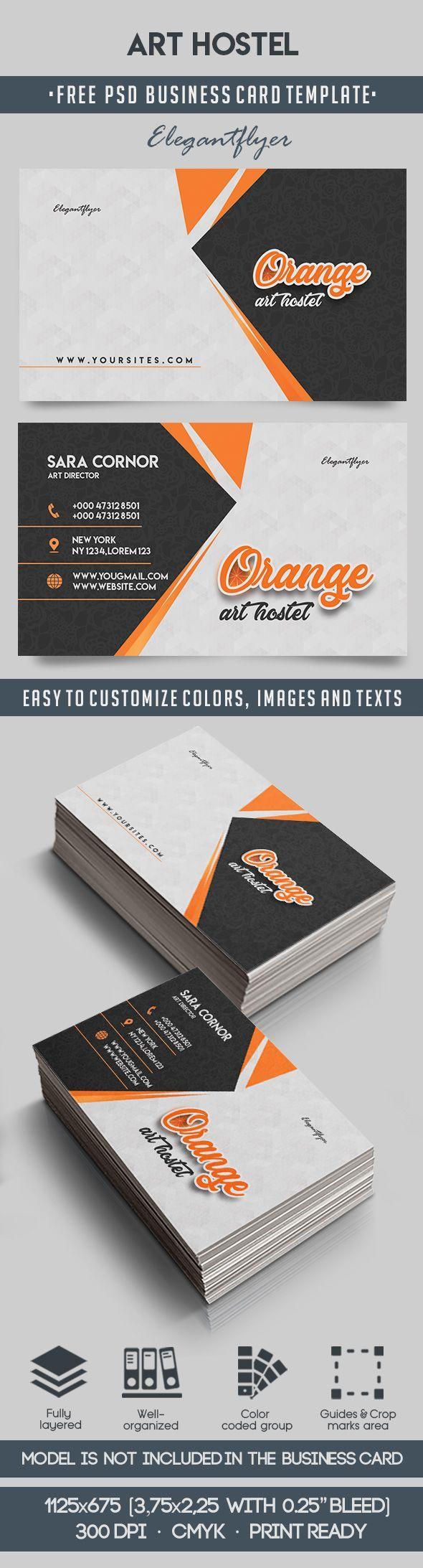 Art Hostel – Free Business Card Templates PSD | Pinterest | Free ...