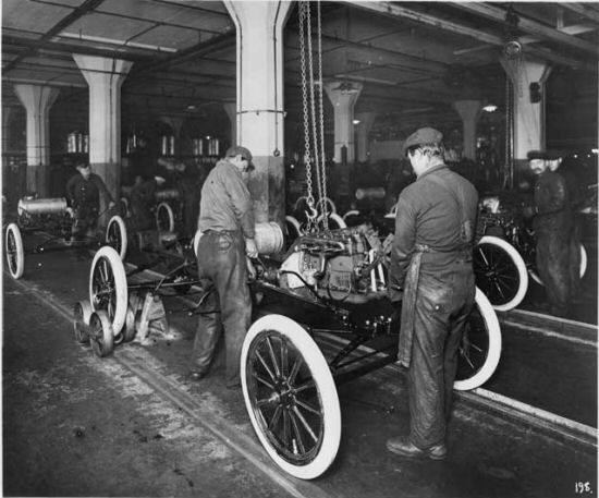 Assembly Line Henry Ford Develops First Moving Assembly Line In 1913 And Applies This Principle To Produce The Ford Mode Ford Models Henry Ford Assembly Line