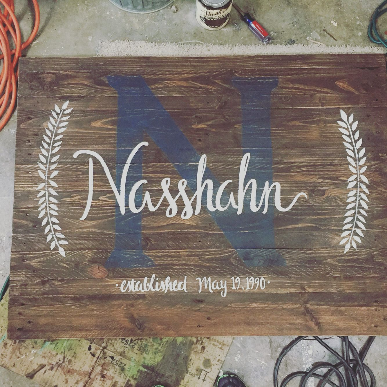 Custom monogram sign 2x3 ft pallet sign https://www.facebook.com/Signed-by-Jamie-1588484904720823/