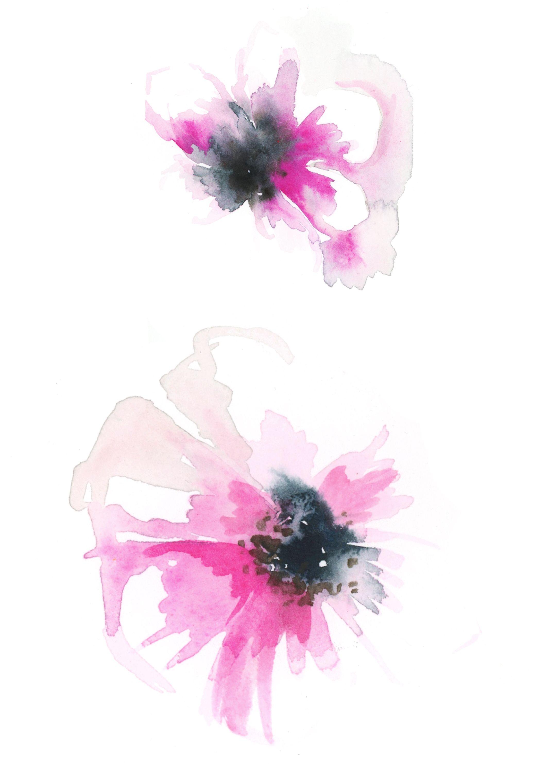 Anemones Aquarell Blumen Wasserfarben Kunst