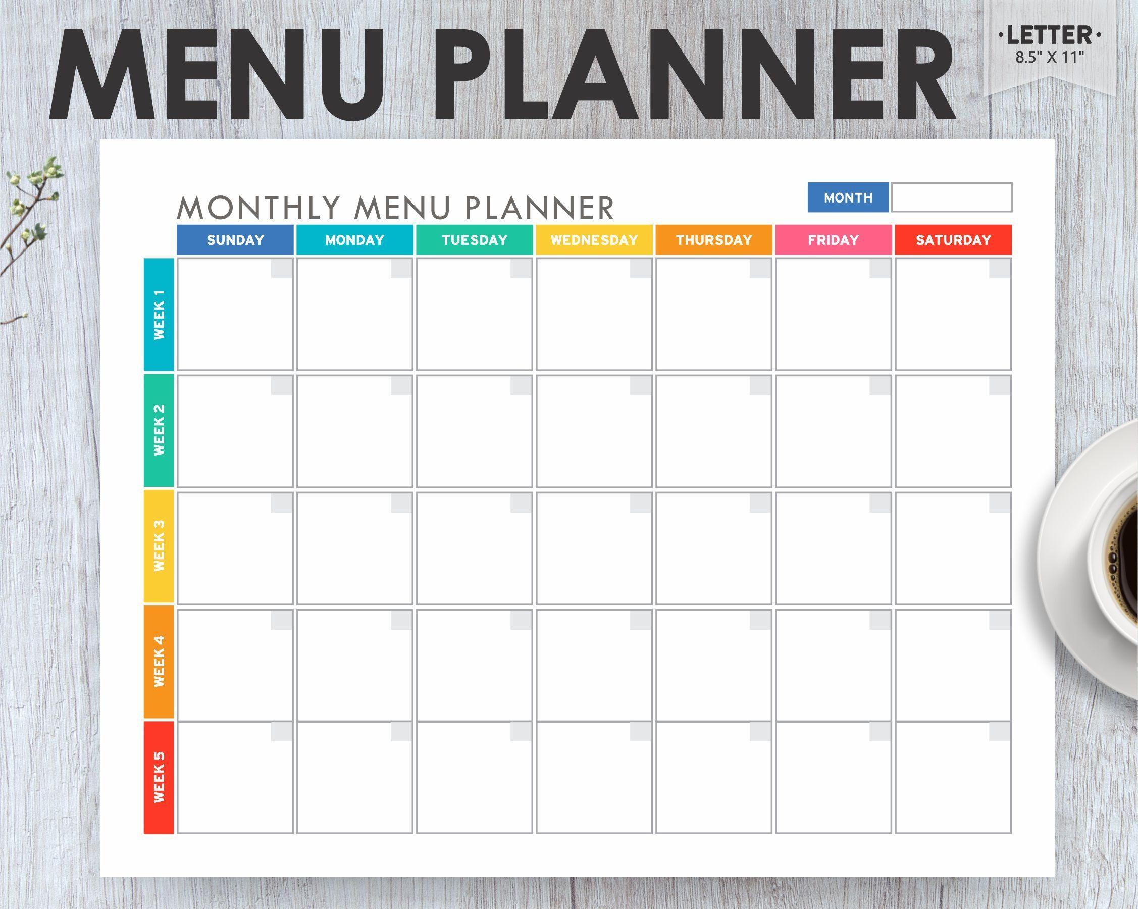 Meal Planner Printable, Menu Planner EDITABLE, Monthly