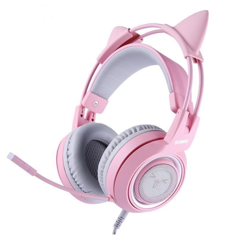 Pink Cat Wired Headphones Gaming Headset with Mic Pink Cat Wired Headphones Gaming Headset with Mic