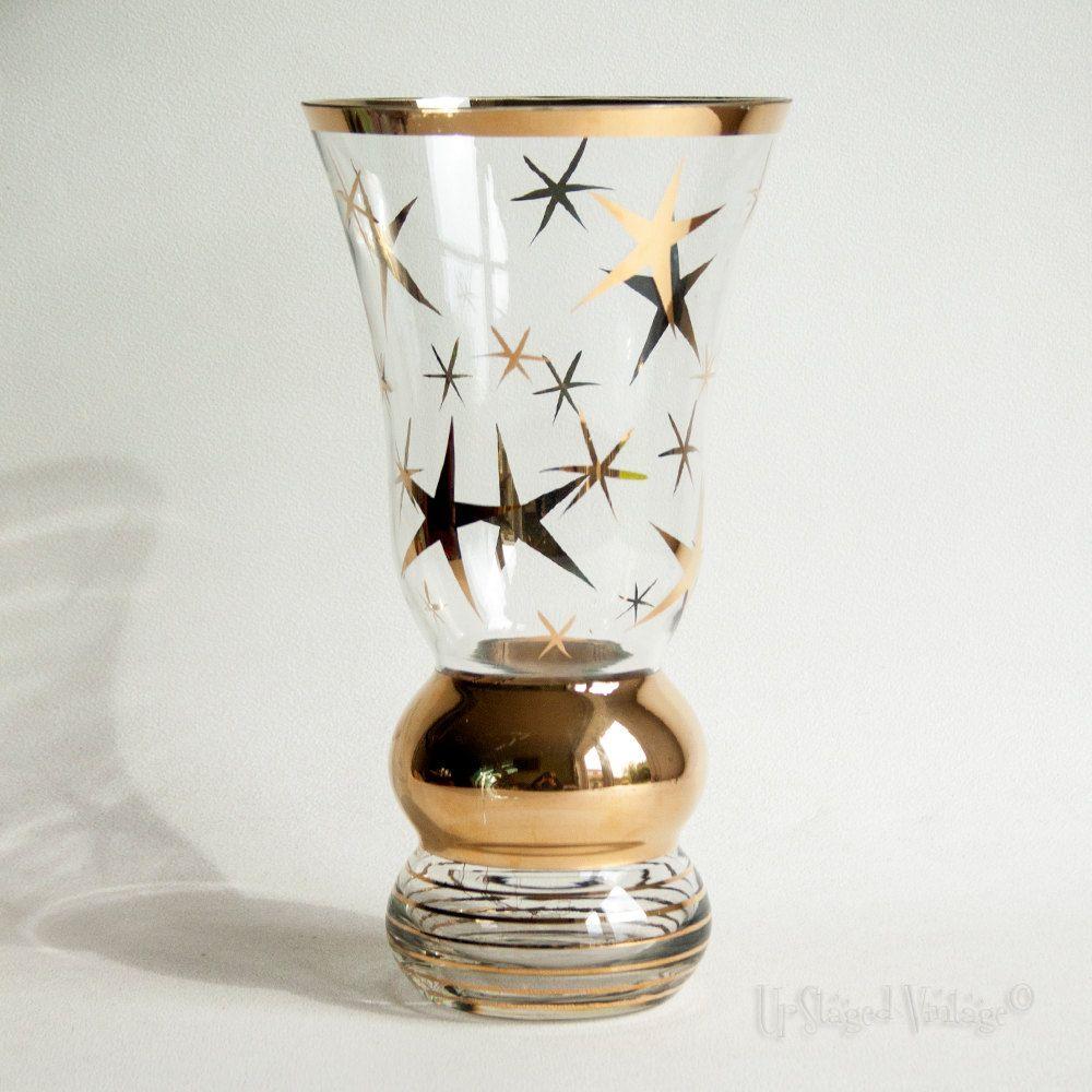 Vintage mid century retro 1950s clear glass vase gold star design vintage mid century retro 1950s clear glass vase gold star design by upstagedvintage on etsy reviewsmspy