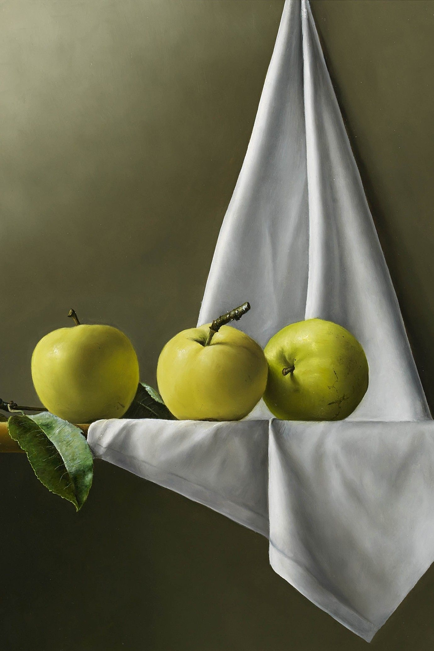 Johan De Fre, 1.Three Apples on the Shelf, oil on panel, 20 x 16 ins (51 x 41 cms)