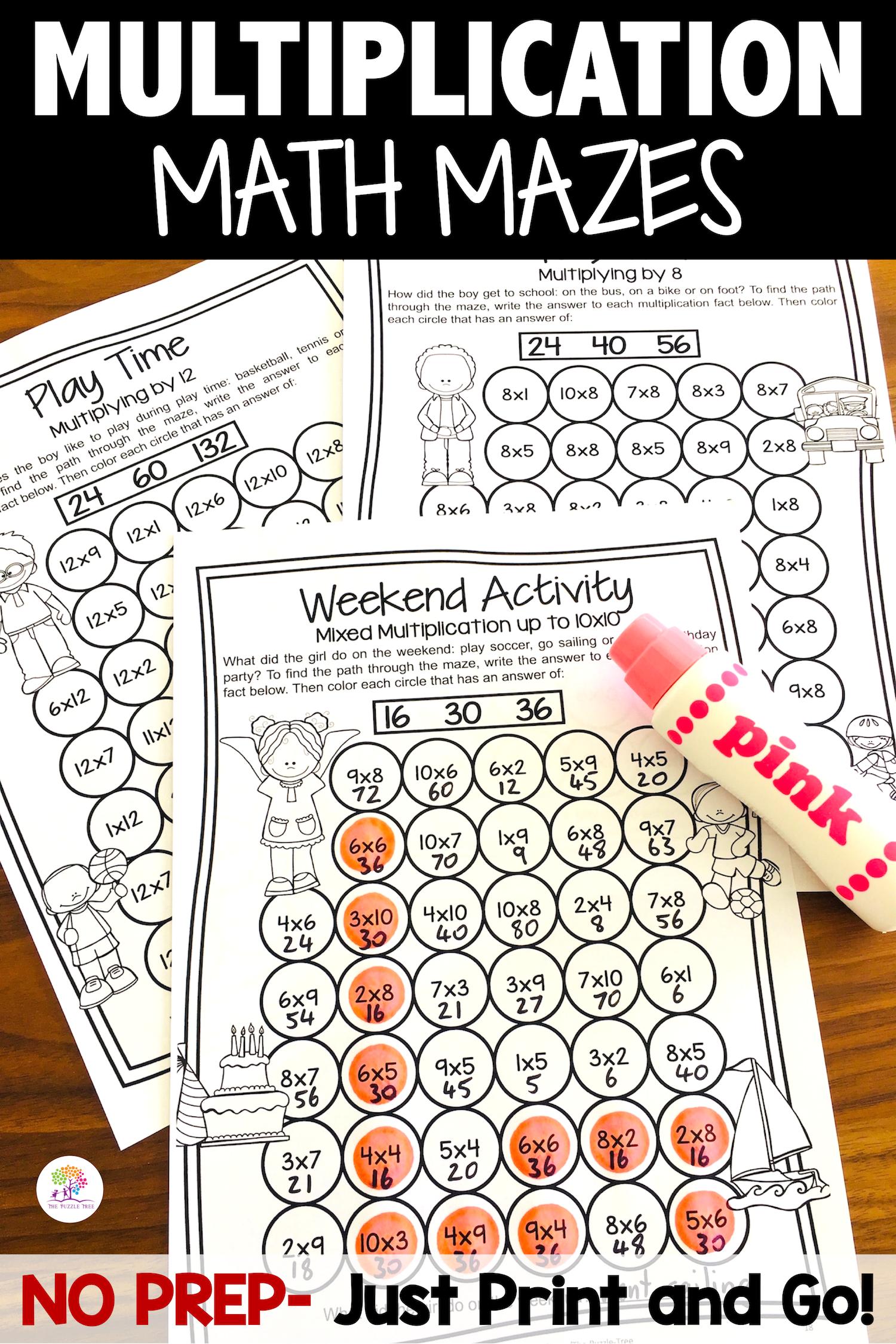 Multiplication Worksheets 1 12 Multiplication Mazes