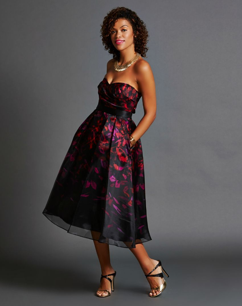 Strapless Black, Pink and Purple Sweetheart Dress | Rent Frock ...