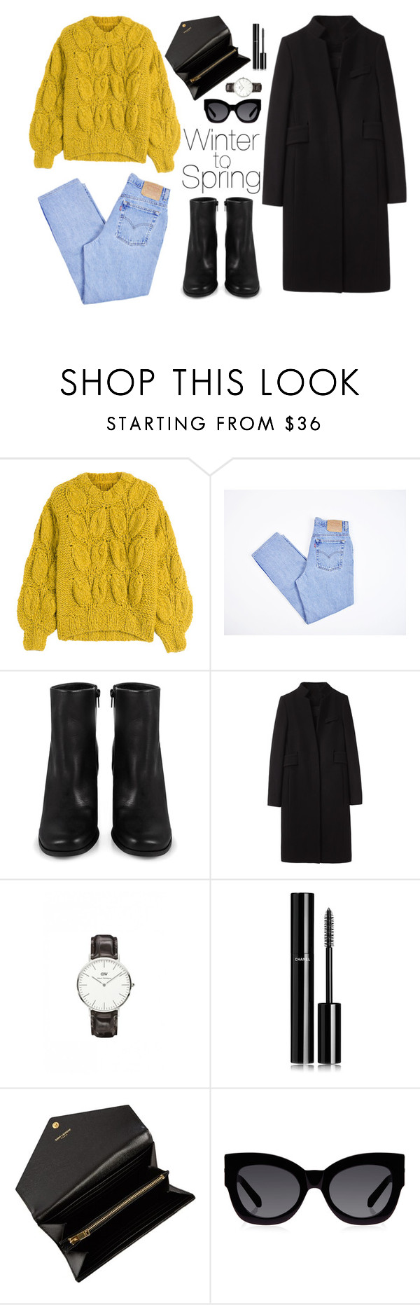 """""""Winter to Spring"""" by laurboor ❤ liked on Polyvore featuring Maison Margiela, Levi's, Miista, Alexander Wang, Daniel Wellington, Chanel, Yves Saint Laurent, Karen Walker, WhatToWear and transition"""