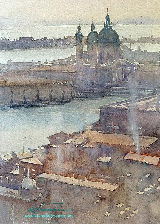 """Santa Maria della Salute, Venice, Italy V"" watercolor by Keiko Tanabe"