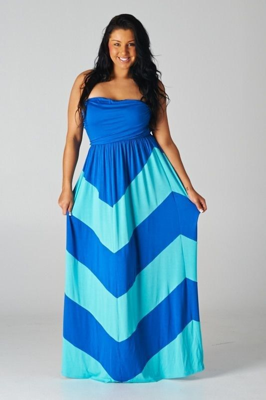 Royal Blue & Aqua Chevron Print Tunic Summer Maxi Dress ...