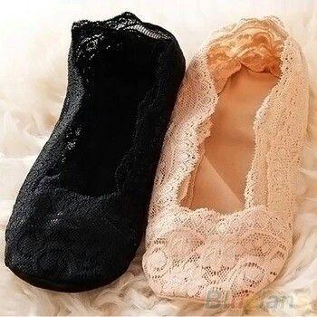 Comfy lace w/ grip no show socks