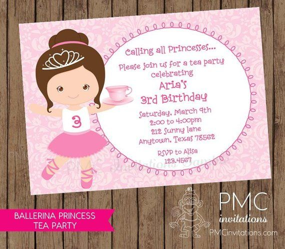 Ballerina Princess Tea Party Birthday Invitations 1 00 Each With Envelopes