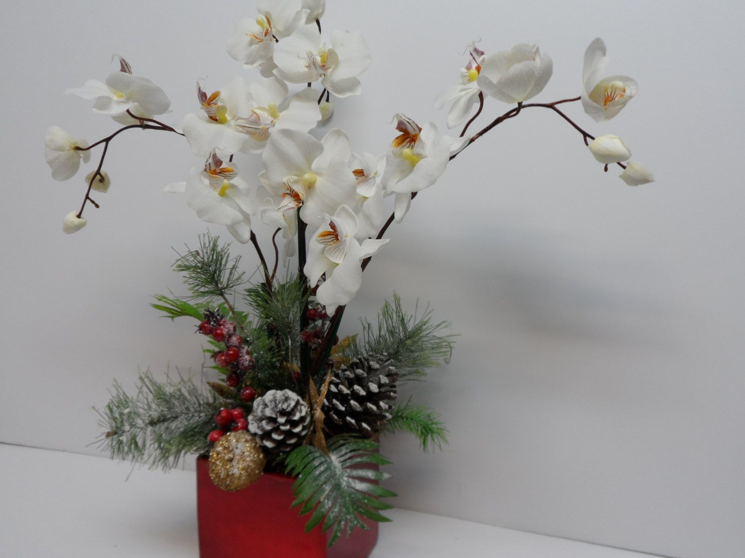 Christmas Orchid Arrangement, Orchid Arrangement, Elegant White Orchid, Holiday Orchid Arrangement, Elegant Table Arrangement, Pines cones by BeautifulHomeAccents on Etsy