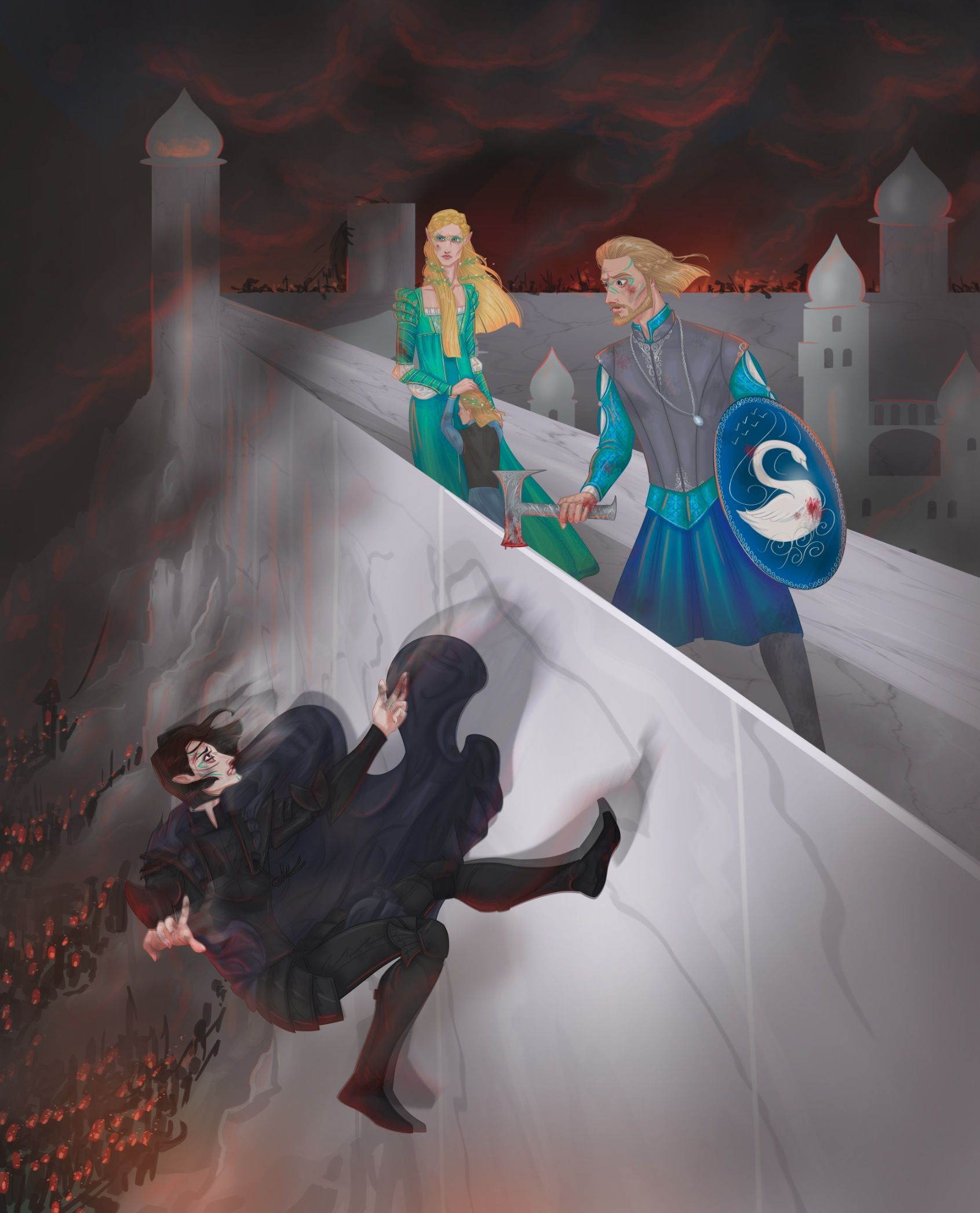 The Fall Of Gondolin By 0torno Maeglin Idril Celebrindal Earendil And Tuor Tolkien Tolkien Art Tolkien Elves