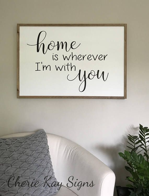 Large Framed Sign Home Is Wherever Im With You Wood Farmhouse Wall Decor Living Room 3 X 2 Ft