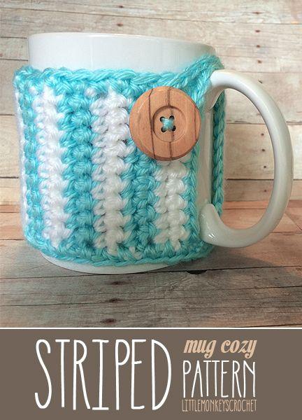 Striped Mug Cozy (free pattern!) | Tejido, Ganchillo y Vasos