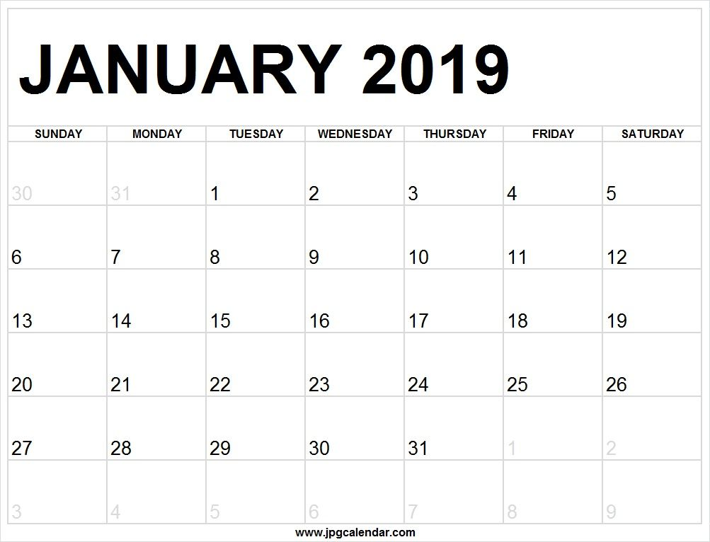 Calendar Sheet For January 2019 To Print Editable January 2019 Calendar Full Page to Print |  Calendar