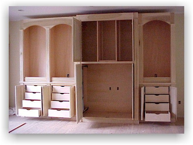 Drawers in DIY entertainment center but I would put the tv ...