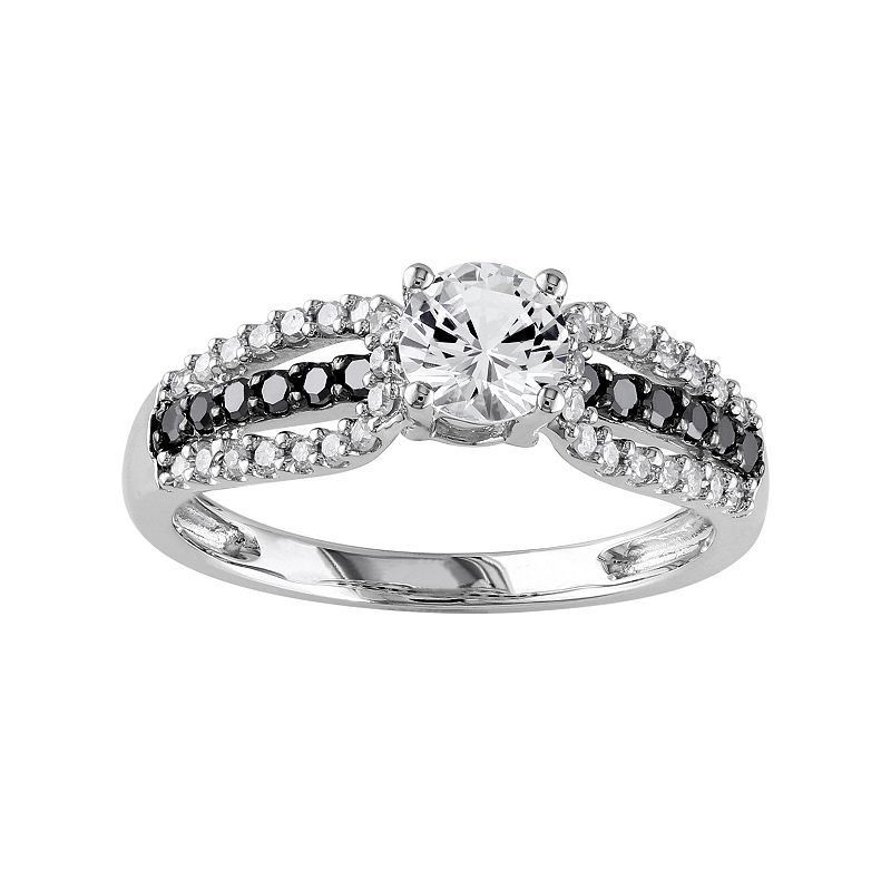 Lab-Created White Sapphire & 1/3 Carat T.W. Black & White Diamond 10k White Gold Engagement Ring, Women's, Size: