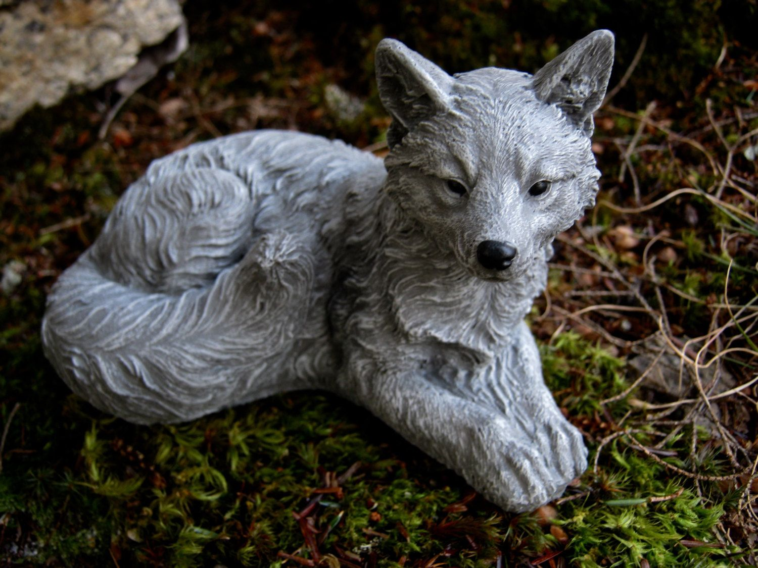 fox statue, fox sculpture, concrete fox figure, small concrete