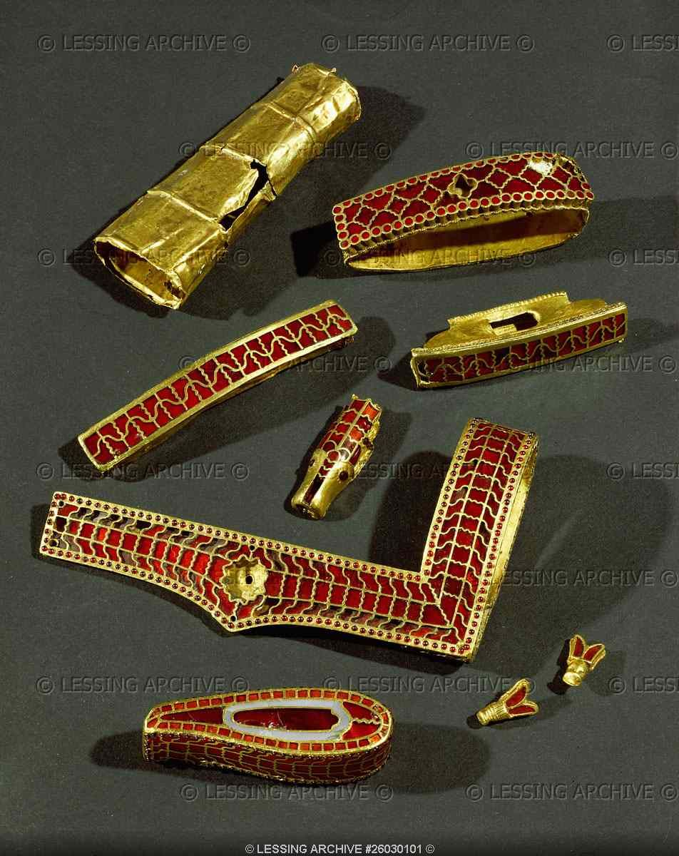 Ornamental sword hilts and scabbards; cloisonne work, gold and ...