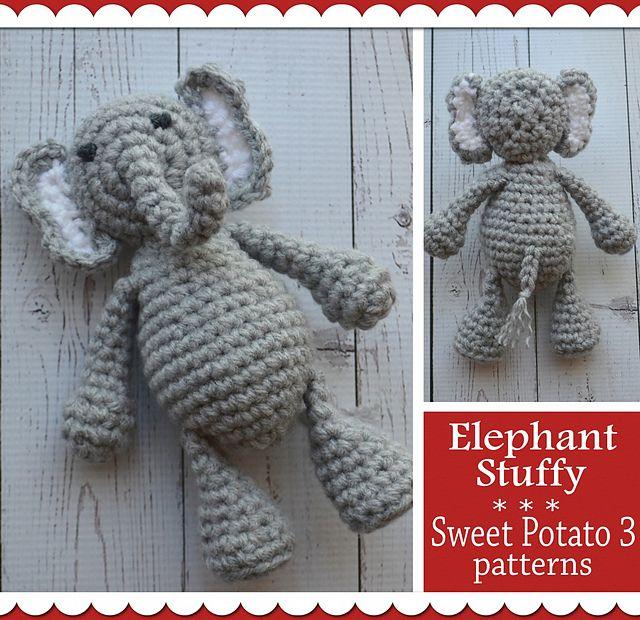 Ravelry: Elephant Stuffy pattern by Christins from My Sweet Potato 3