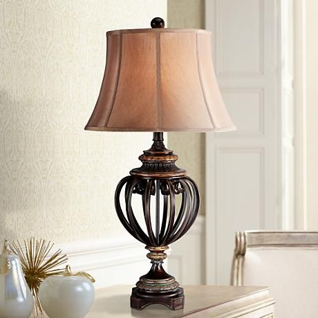 Open Iron Scroll 36 High Urn Table Lamp T5598 Lamps Plus Traditional Table Lamps Table Lamps For Bedroom Jar Table Lamp