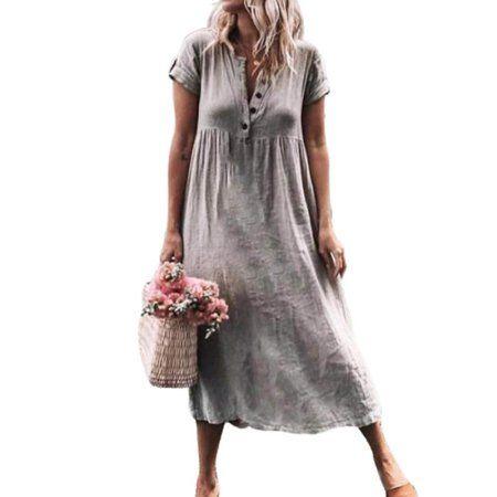Photo of Women Summer Dress Short Sleeve Cotton Linen Solid Baggy But…