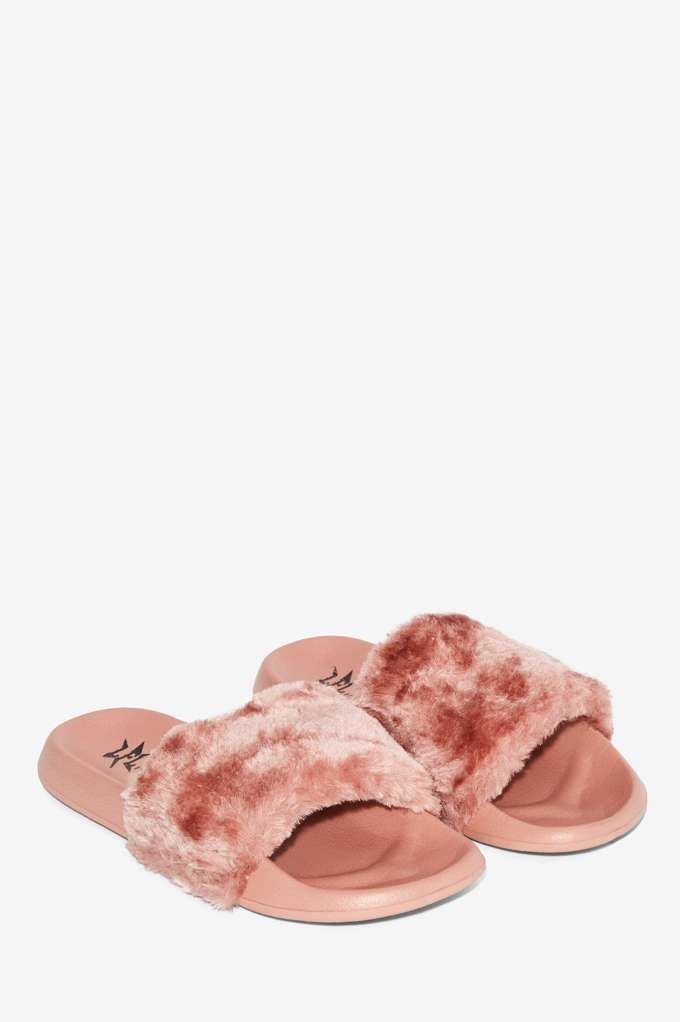 Lust For Life Faux Fur Slide Sandals