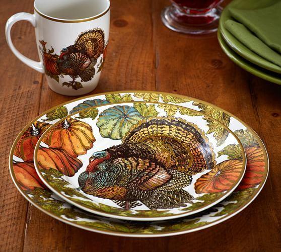 Heritage Turkey Dinner Plates Set of 4 & Heritage Turkey Dinnerware. Dinner Plates 10-3/4\