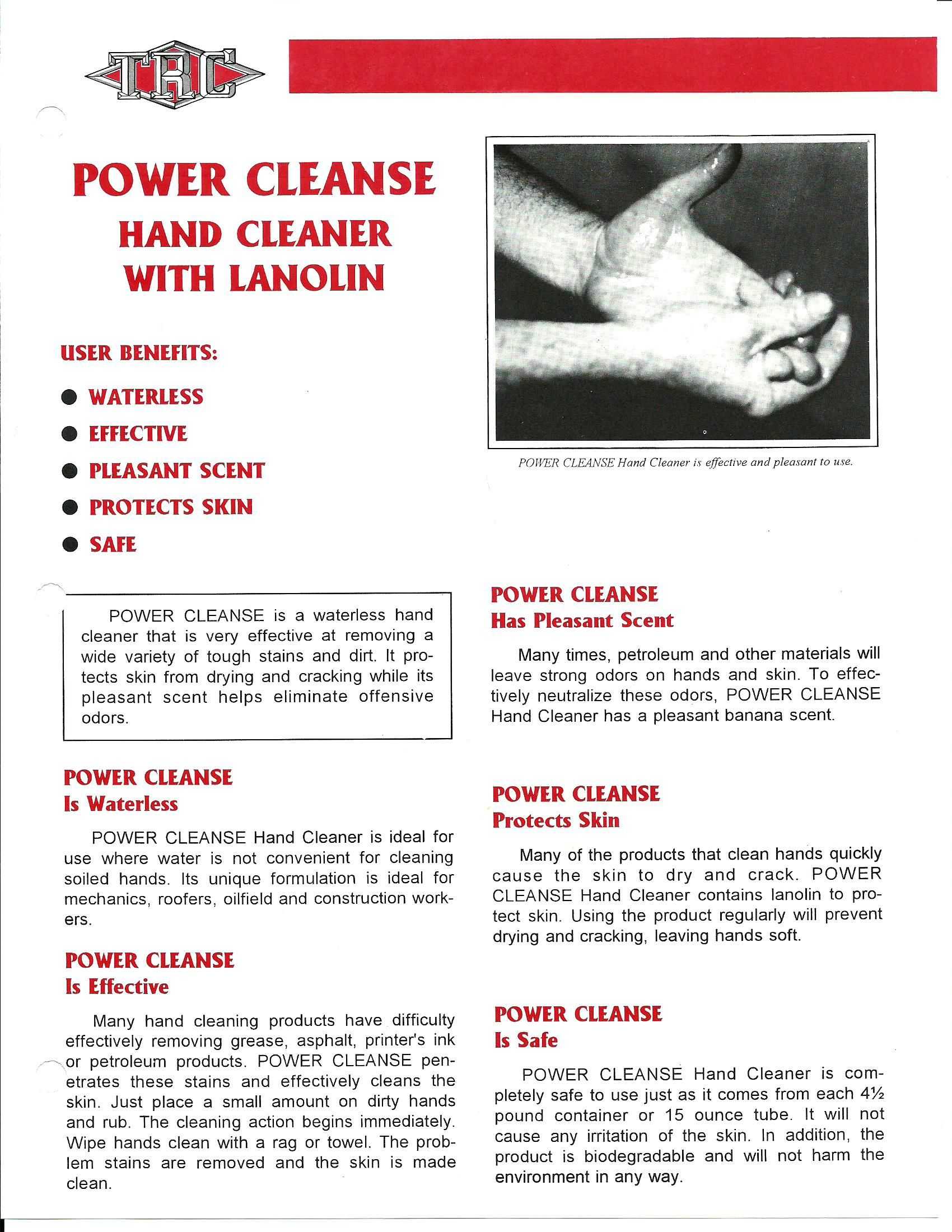 Power Cleanse Hand Cleaner With Lanolin at Texas Refinery Coatings