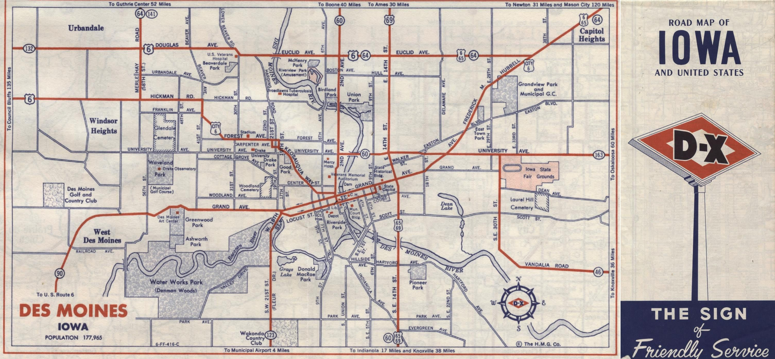 Excerpt From A D X 1958 Road Map Showing A Map Of Des Moines No Freeway Or Interstates Des Moines Iowa Roadmap