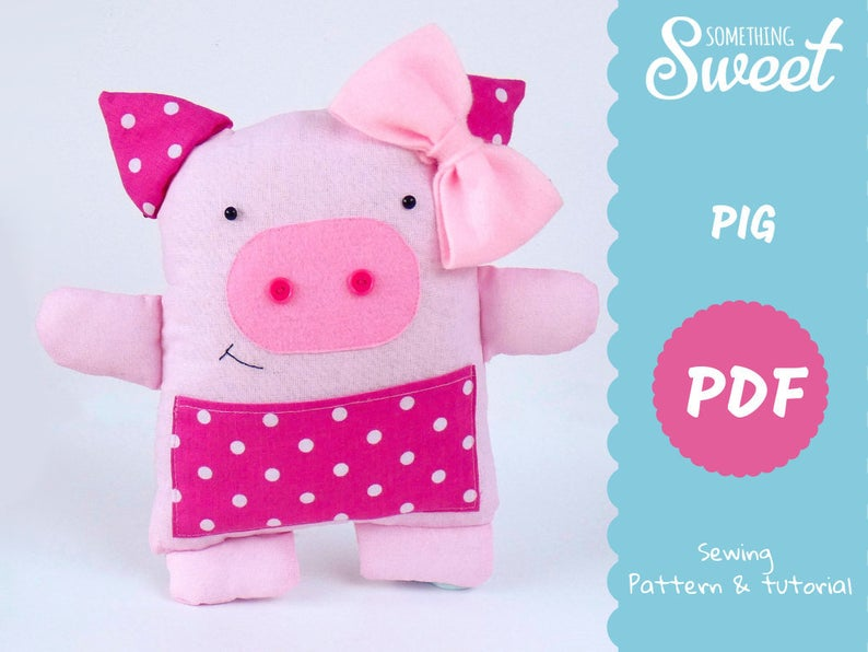 Stuffed Animal Pattern Pdf Pig Pattern Diy Teddy Tutorial Etsy Stuffed Animal Patterns Sewing Projects Teddy Pictures