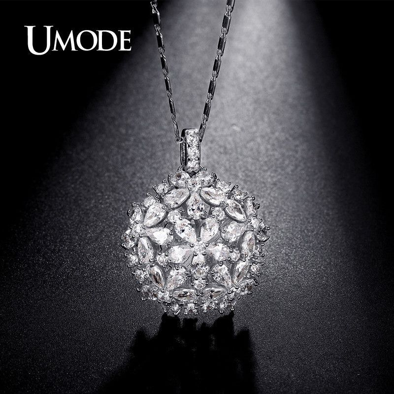 Hollow Flower Shaped 4.5mmX3mm Pear Cut Pendant White Gold Plated Necklaces Jewelry for Women