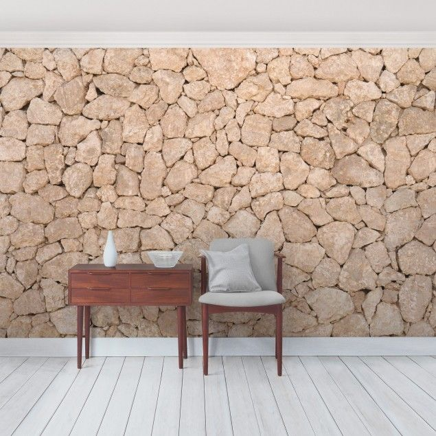 Tapete Stein   Selbstklebende Fototapete Apulia Stone Wall   Alte  Steinmauer Aus Großen Steinen   Sandsteintapete