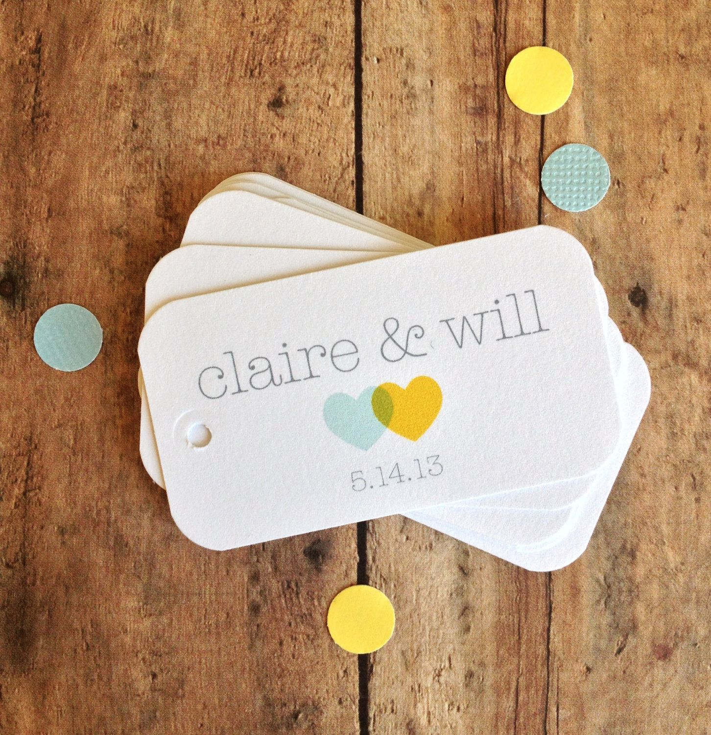 Wedding favor tags - heart tags - custom bridal shower tags - party ...